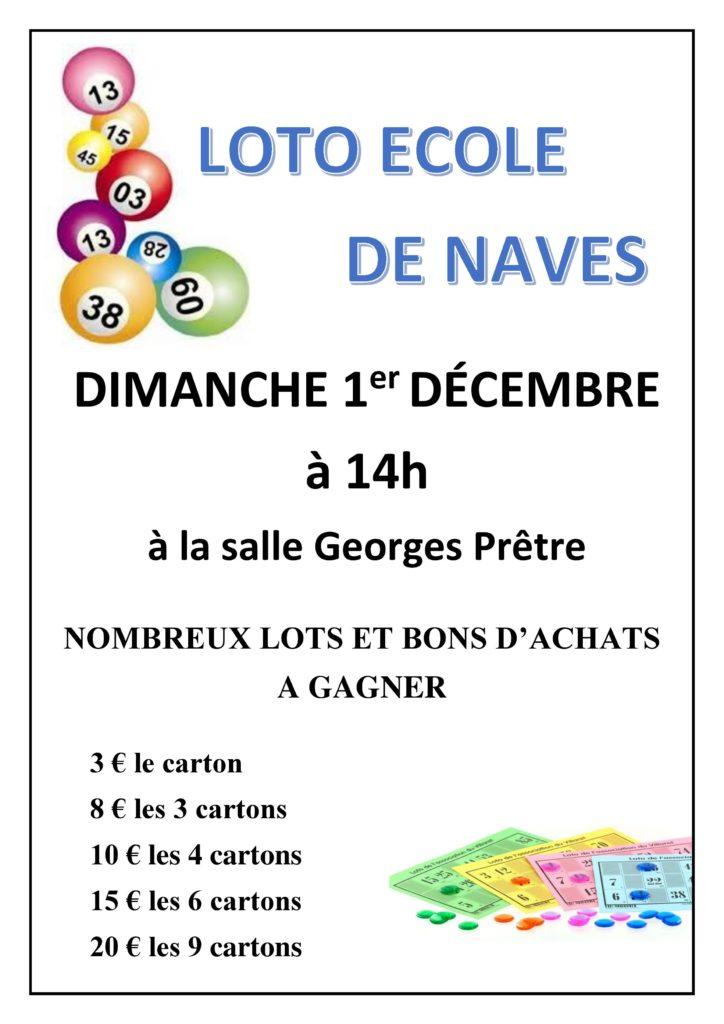 Dimanche 1er décembre 2019 à 14h : LOTO DE L'ECOLE