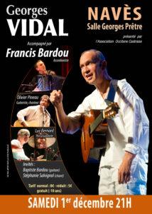 Samedi 1er décembre 2018 à 21h : Concert de Georges Vidal, accompagné par Francis Bardou