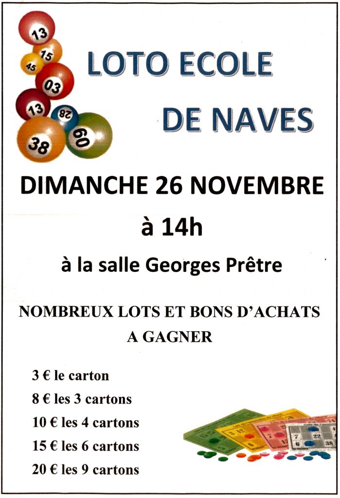 Dimanche 26 novembre 2017 à 14h : LOTO DE L'ECOLE