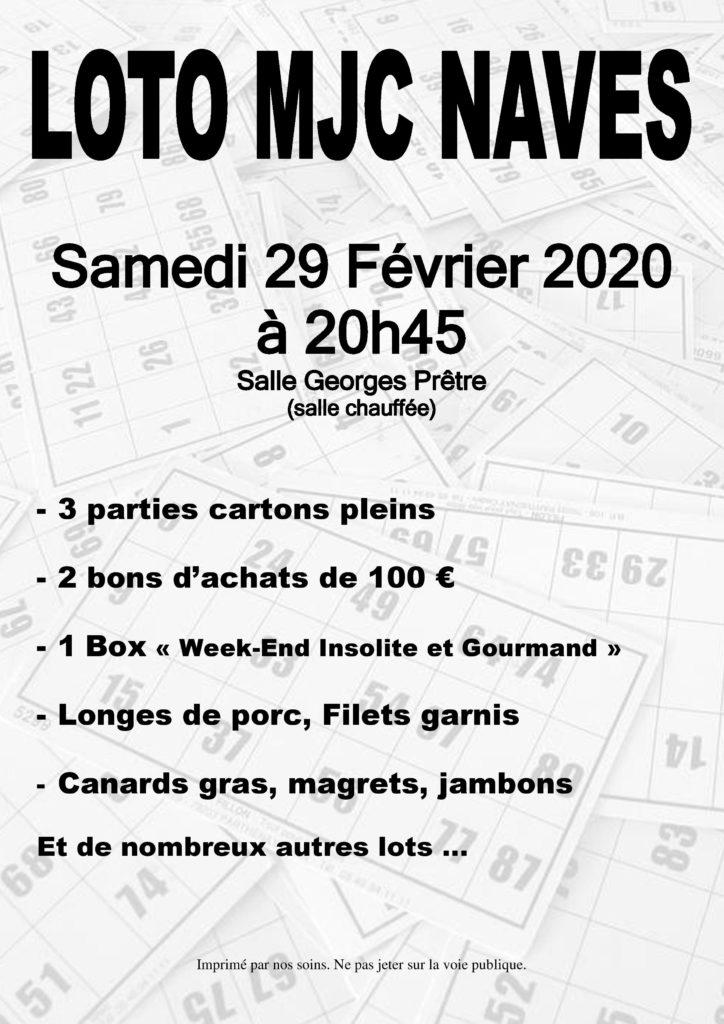Samedi 29 février 2020 à 20h45 – Loto de la MJC Navès