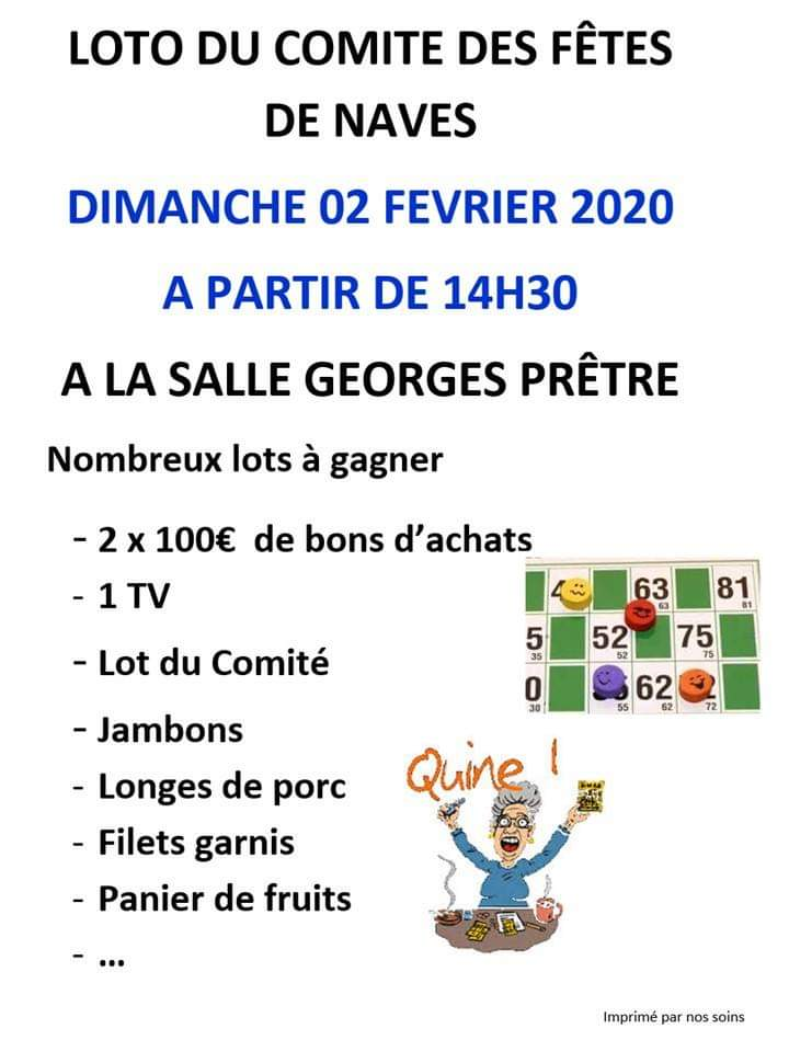 Dimanche 2 février 2020, 14h30 _ Loto du comité des fêtes de Navès