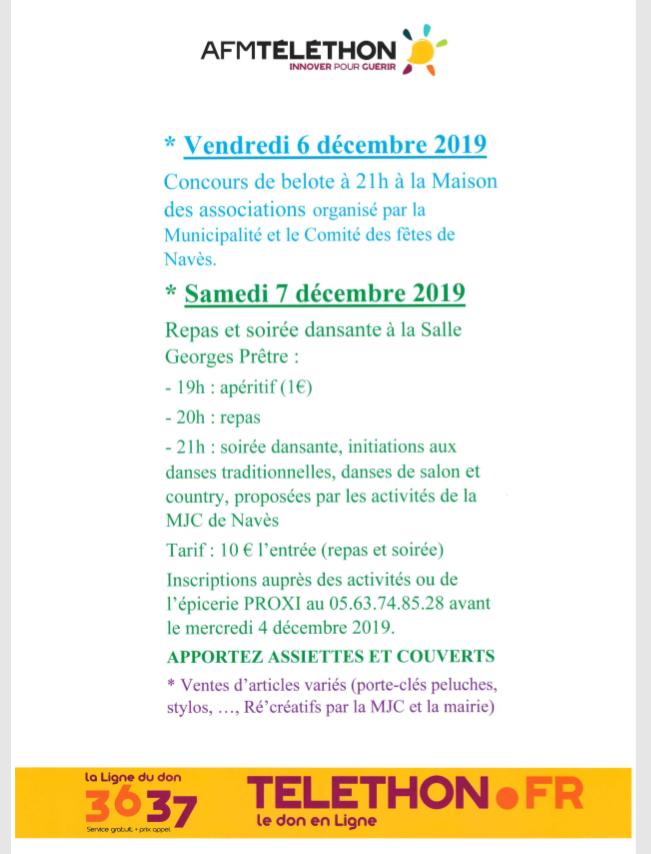 Vendredi 6 et samedi 7 décembre 2019 – Animations Téléthon à Navès