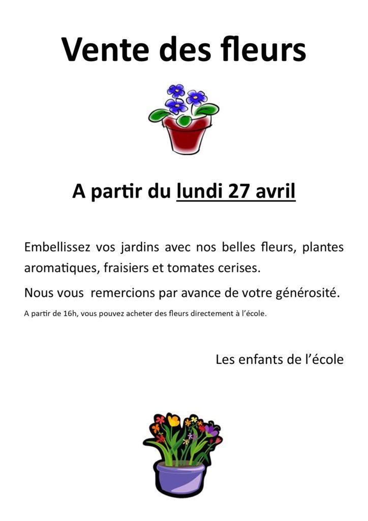 Vente des fleurs pour l'école à partir du lundi 27 avril 2020