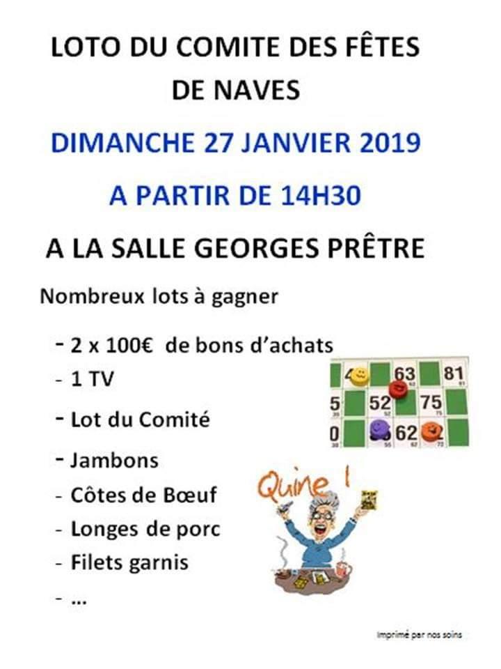 Dimanche 27 janvier 2019 à 14h30 – Loto du Comité des Fêtes