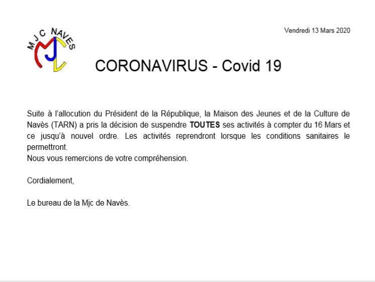 Coronavirus – Covid 19 – Arrêt des activités MJC