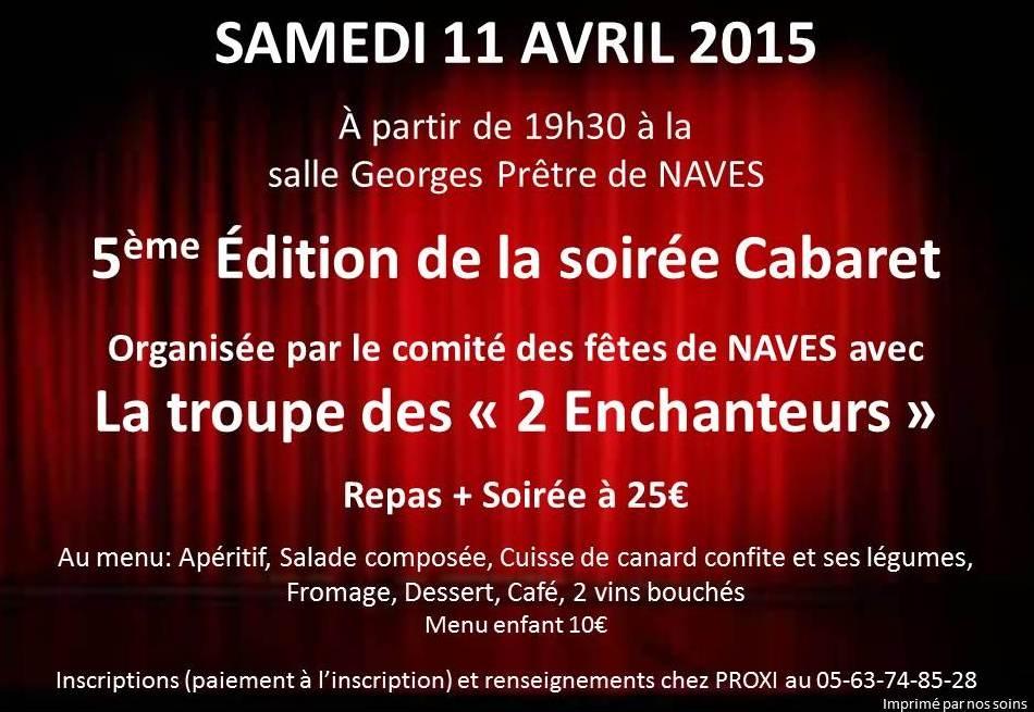 Samedi 11 avril 2015 – Soirée Cabaret