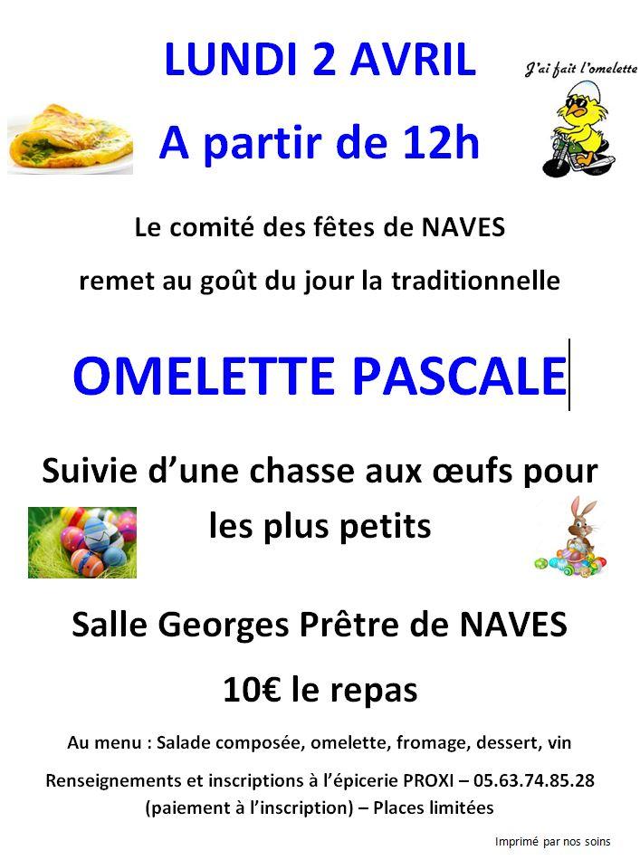 Lundi 2 avril 2018 à 12h – Omelette Pascale