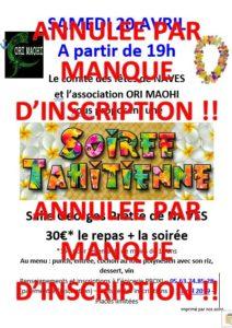 ANNULE : Samedi 20 avril 2019 – Soirée Tahitienne